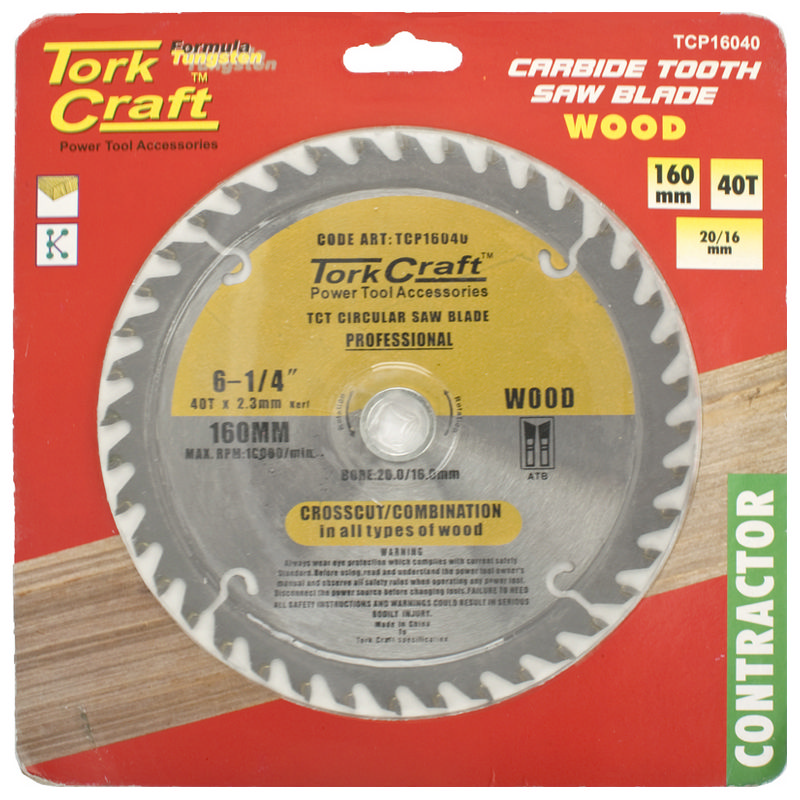 Tork Craft Blade Contractor 160 X 40t 20/16 Circular Saw Tct