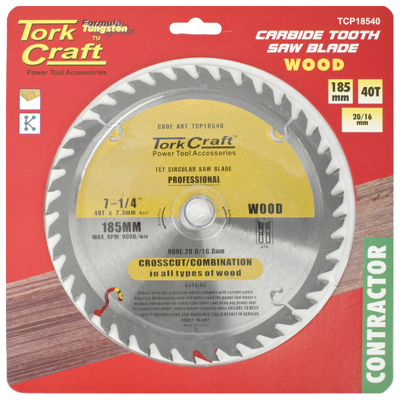 Tork Craft Blade Contractor 185 X 40t 20/16 Circular Saw Tct