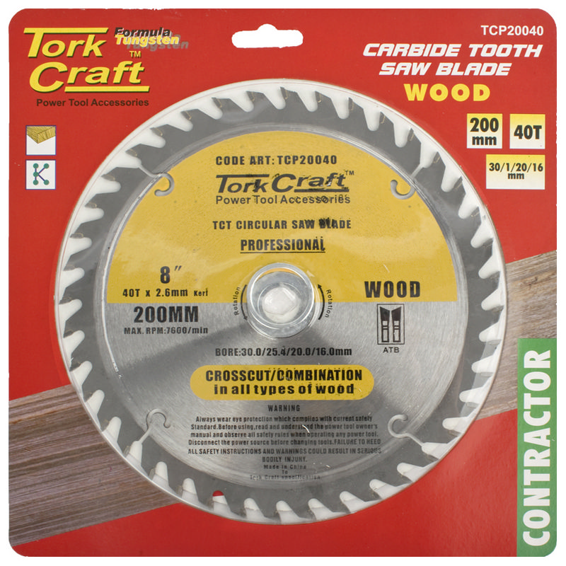 Tork Craft Blade Contractor 200 X 40t 30/1/20/16 Circular Saw Tct