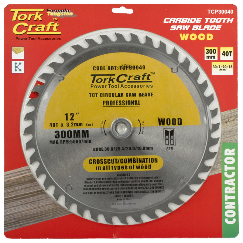 Tork Craft Blade Contractor 300 X 40t 30/1/20/16 Circular Saw Tct